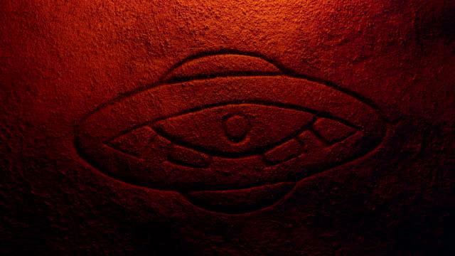 Alien UFO Carving In Fire Light video