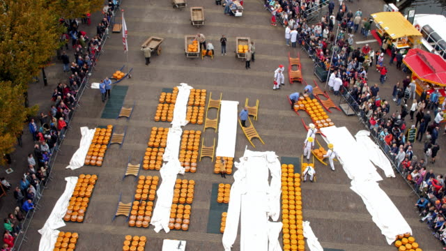Alkmaar Cheese Market aerial time lapse video