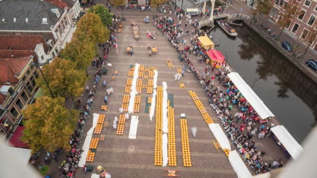 Alkmaar Cheese Market aerial view video