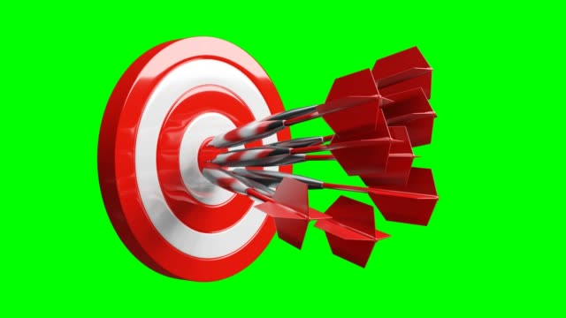 All red dart arrows hit the center of target on green chroma key.