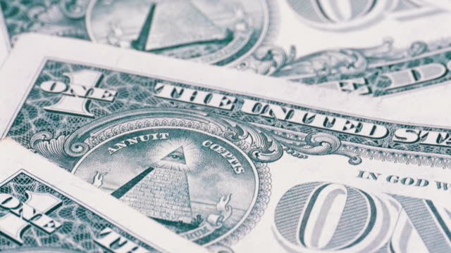 All seeing eye on the one dollar. The reverse side of the dollar denominations of 1 dollar rotate video