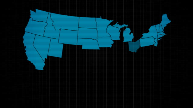 usa all states showing up with initials on a digital monitor - semplicità video stock e b–roll