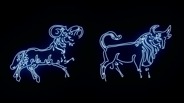 vídeos y material grabado en eventos de stock de todos lo signo del zodiaco en líneas azules que brillan intensamente - constelación