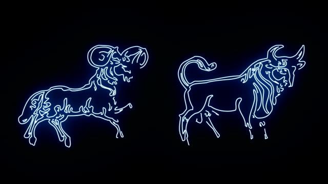 vídeos de stock e filmes b-roll de all the zodiac sign revealed in blue glowing lines - astrologia