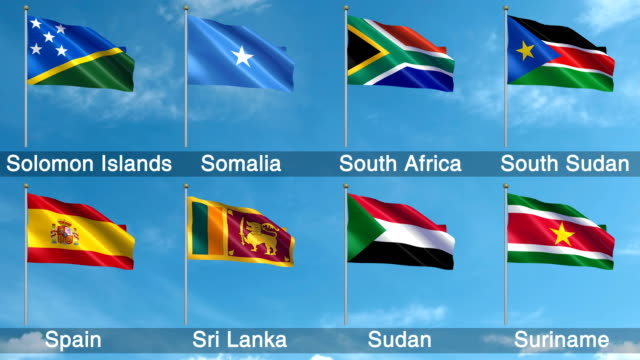 all world flags set + alpha channel (loopable) - sudan del sud video stock e b–roll