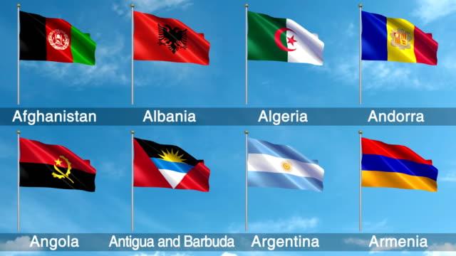 Todas las banderas mundo Set (Loopable) - vídeo