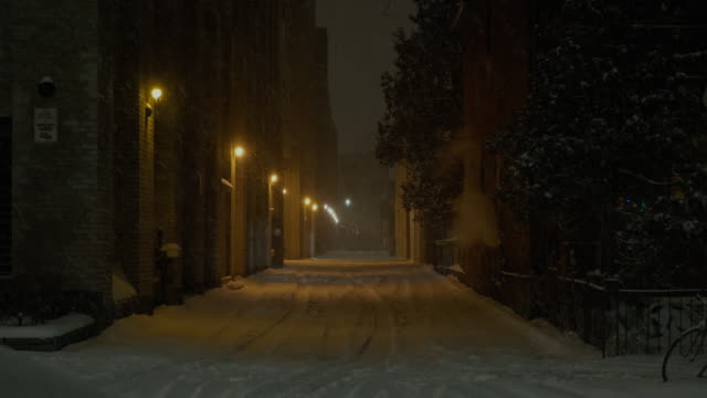 Alley in the snow at night video