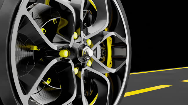 Alloy wheel with modern Brake Disc and Calliper carbon fiber.
