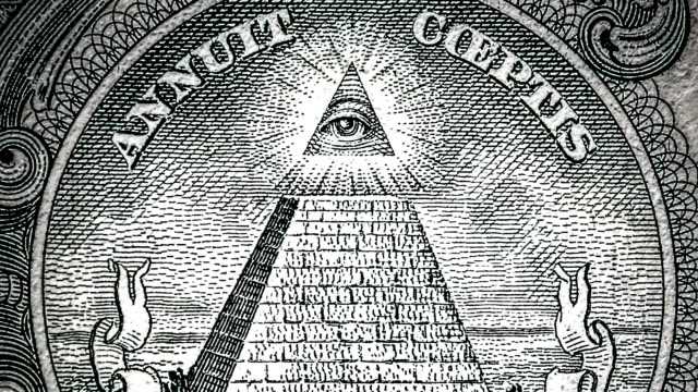 all-seeing eye on the one dollar. new world order. elite characters. 1 dollar. mason sign symbol - conspiracy стоковые видео и кадры b-roll