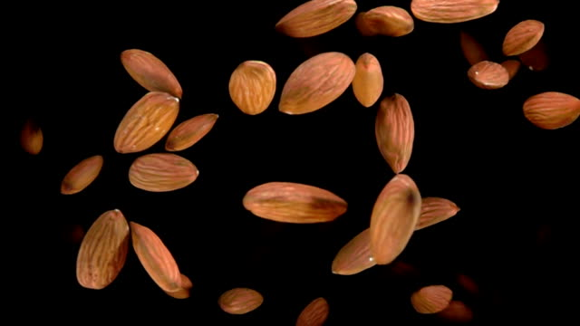 vídeos de stock e filmes b-roll de almond bouncing against to the camera - amendoas