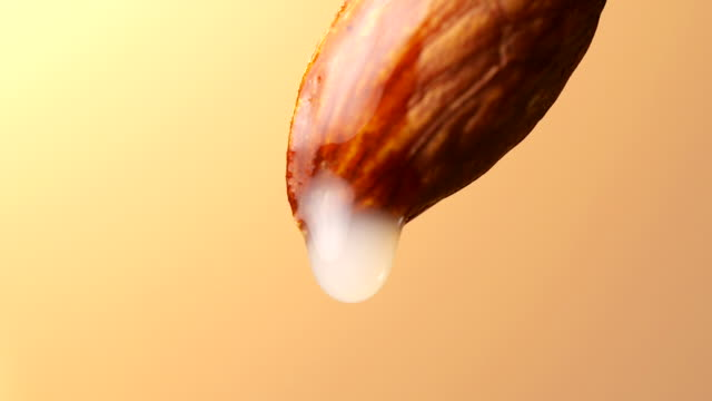 Almond milk, Milk drop from almond in slow motion, close-up