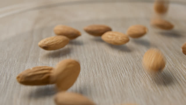 Almonds falling slowmotion video