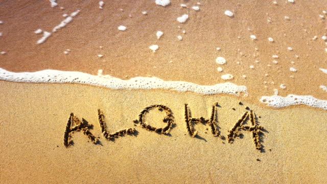 Aloha Words Written in Sand, Tropical Hawaii Beach, Travel Vacation