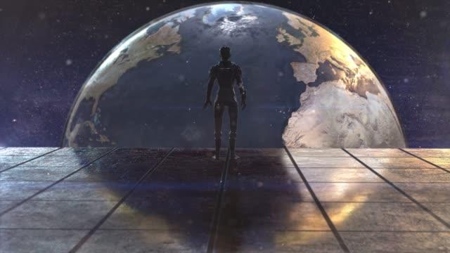 ensam kvinna astronaut i futuristisk rymd syn på jorden - utdöd bildbanksvideor och videomaterial från bakom kulisserna