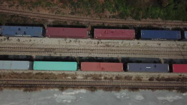 AERIAL Along a cargo train terminal