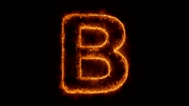 Alphabet B Word Hot Animated Burning Realistic Fire Flame Loop.