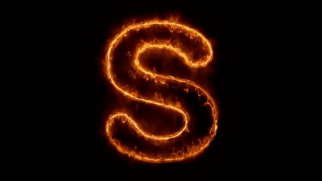 stockvideo's en b-roll-footage met alfabet s woord hot geanimeerde brandende realistische fire flame loop. - s
