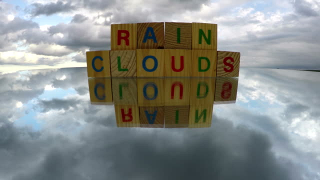 Alphabetical wooden cubes toys with word Rain Clouds, time lapse 4K