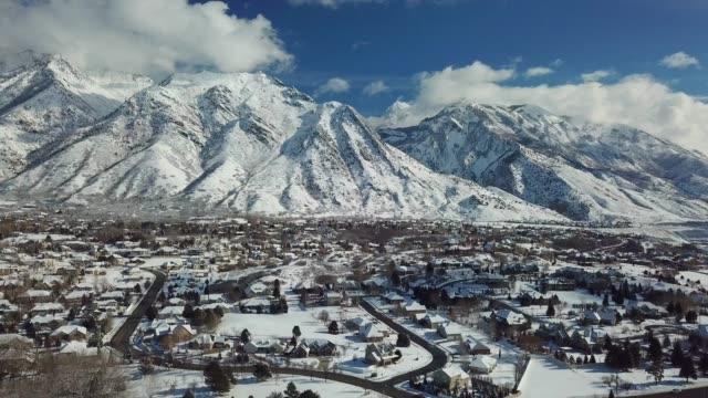 Alpine City View of Alpine city Utah Valley after snow storm utah stock videos & royalty-free footage