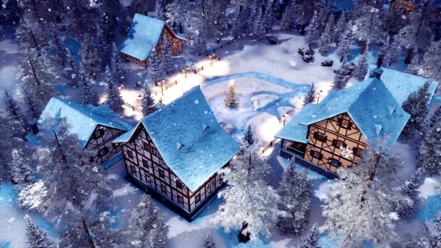 stockvideo's en b-roll-footage met alpine dorp op de besneeuwde kerst nacht bovenaanzicht 3d animatie - dorp