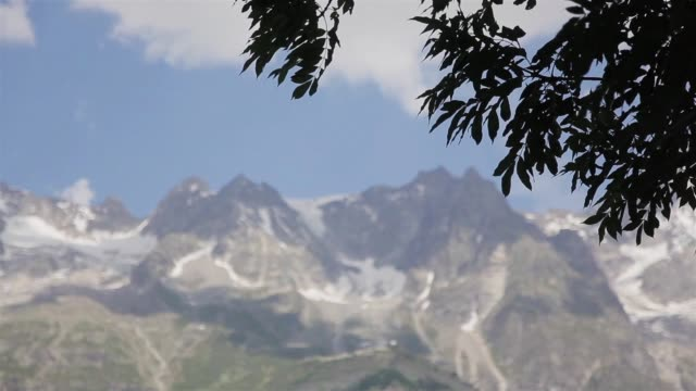 alps mont blanc mountain massif focus view from tree wind. high summer alpine ridge range seen from courmayeur town in aosta valley sun day. famous alpinist tourist resort mountaineering destination - courmayeur estate video stock e b–roll
