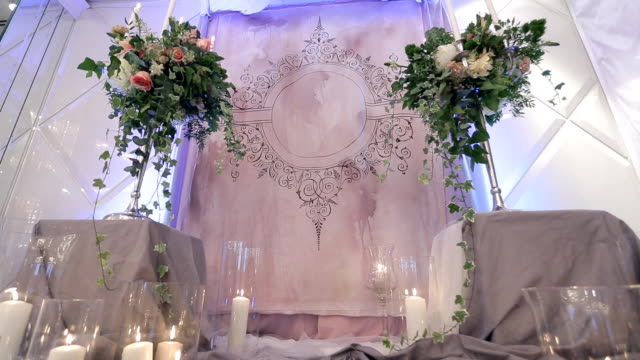Altar to exchange vows at wedding ceremony is full of lights video