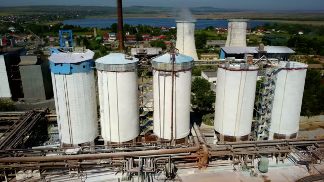 Aluminium hydroxide storage containers, aerial view