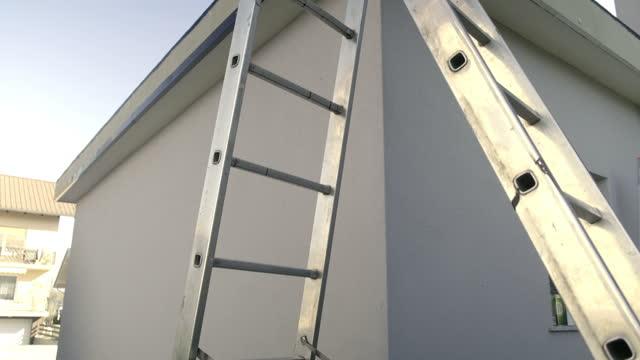 Aluminum ladder   on construction site