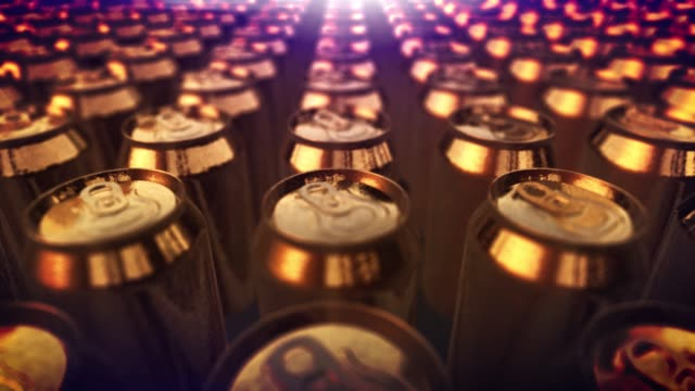 4K aluminum soda cans. beer cans. energy drink. coke recycling close up loop background