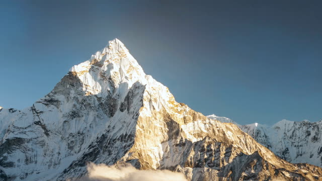 Ama Dablam 6856m peak near the village of Dingboche in the Khumbu area of Nepal, on the hiking trail leading to the Everest base camp. video