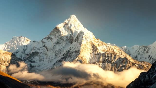 Ama Dablam (6856m) peak near the village of Dingboche in the Khumbu area of Nepal, on the hiking trail leading to the Everest base camp. video
