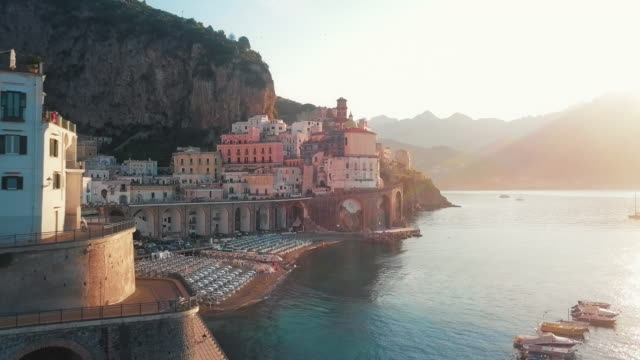 amalfi coast drive by dawn - italian architecture stock videos & royalty-free footage