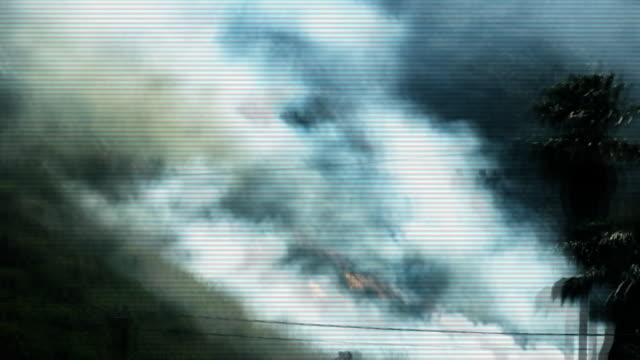 amateur styled disaster footage with scan lines and glitches - illavarslande bildbanksvideor och videomaterial från bakom kulisserna