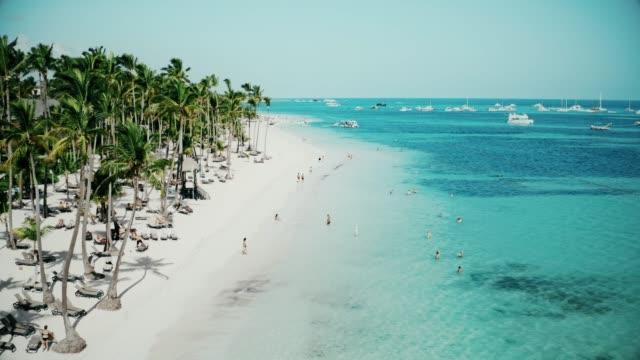 vídeos y material grabado en eventos de stock de increíble vista aérea de una maravillosa playa caribeña tropical exótica en punta cana, república dominicana - caribe