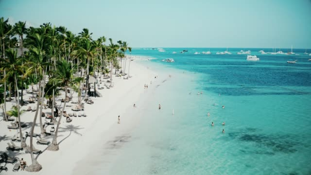 erstaunliche Luftaufnahme eines wunderschönen exotischen tropischen karibischen Strandes in Punta Cana, Dominikanische Republik – Video