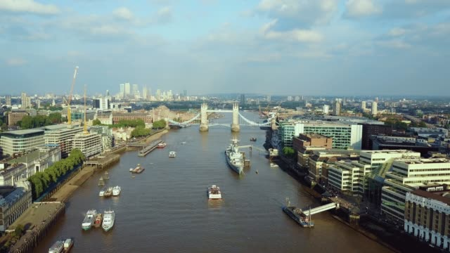 Amazing aerial view of the Tower bridge in London Amazing aerial view of the Tower bridge in London above river Thames 17 March, 2017. european culture stock videos & royalty-free footage