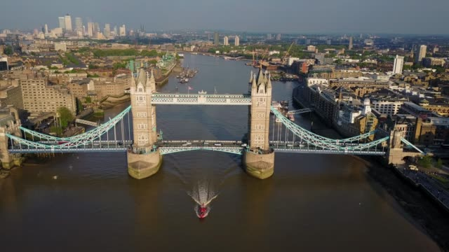 amazing aerial view of the tower bridge in london - london architecture stock videos & royalty-free footage