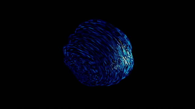 amazing blue sphere of liquid substance rotating on black background, seamless loop. animation. globe formed by small rhombus shining particles spinning in the dark - винт стоковые видео и кадры b-roll