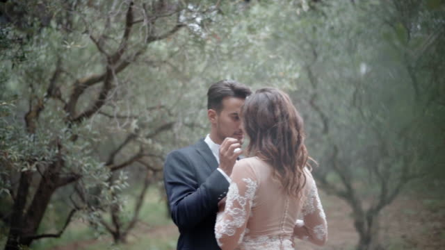 amazing cinematic frame of young couple in love among the olive trees at the plantation. handsome man in dark blue suit looking at his pretty lady in lace dress and touching her curly hair and delicate skin. real sincere emotions and passion between - young couple wedding friends video stock e b–roll
