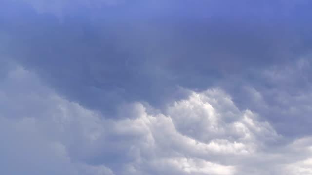 Amazing cloud time lapse, blue cumulus on sky