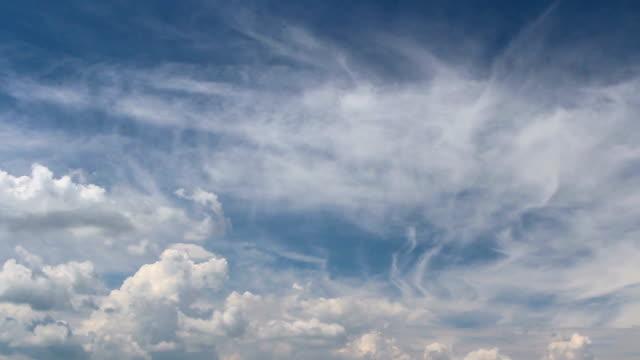 Amazing cloud time lapse, white cumulus on blue sky