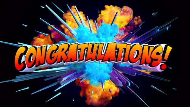 amazing explosion animation with text congratulations - congratulations stock videos & royalty-free footage