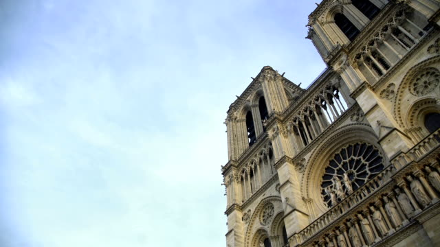 Amazing French Gothic architecture of Notre-Dame de Paris, bottom view panorama video