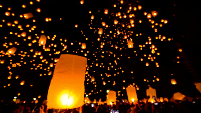 Amazing Loi Kra Tong festival in Thailand. video