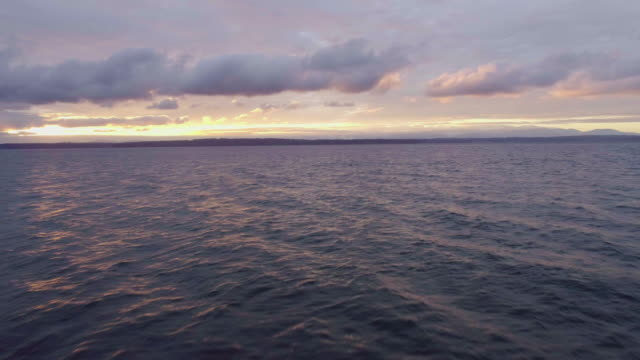 vídeos de stock e filmes b-roll de amazing purple colored sea sunset orange clouds light rays - oceano pacífico