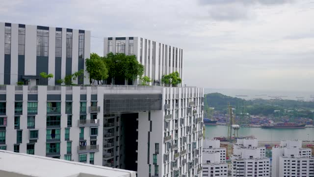 Amazing Rooftop Garden Amazing rooftop garden. Beautiful outside terrace with park and scenic city view. Modern benches under green trees along walkway. Urban eco design and mini-ecosystem. Landscaping in Singapore. singapore architecture stock videos & royalty-free footage