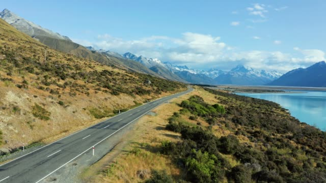 Amazing scenic windy road with mountains and glacier lake, aerial view. MT Cook State Highway 80, New Zealand.