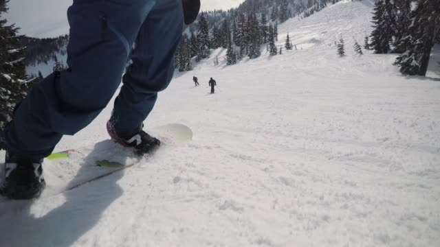 Amazing Snowboard Perspective Riding Resort Groomed Run video