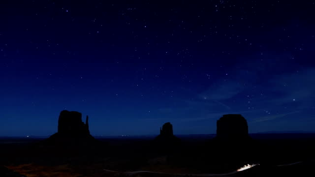 NIGHT TIME LAPSE: Amazing starry night above the Monument Valley mesa mountains video