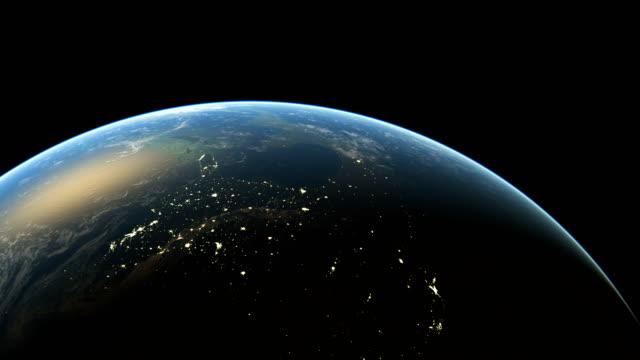 stockvideo's en b-roll-footage met amazing zonsopgang over amerika gezien vanuit de ruimte realistische 3d animatie achtergrond - new world